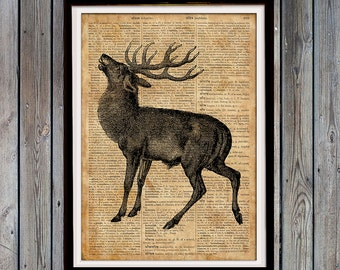 Deer gift Rustic home decor Stag print Vintage poster SH665
