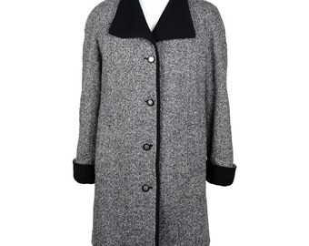 80s Grey Tweed Boyfriend Coat UK 14/16