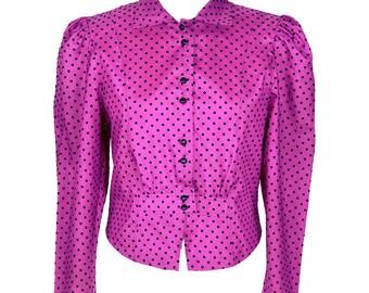 80's Fushia Pink Polka Dot Blouse UK 12
