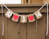 SAVE the DATE Custom banner for Weddings, Wedding Banners, Engagement Session Photo Prop, Decor Sign   Kraft & Cream with Red Hearts