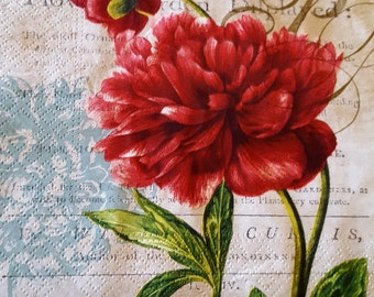4 x paper table  napkins for decoupage or craft , 33 x 33 cm, 3 ply, Red Flowers , Old Garden, Party napkins, Vintage , decoupage napkins