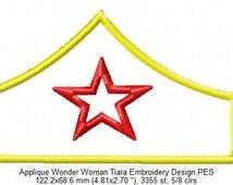 Applique Wonder Woman Tiara Embroidery Design