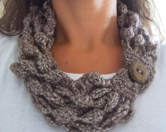 Crochet taupe wool necklace/scarf