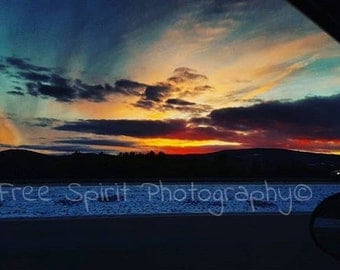 Instant Download. Winter, Sunset Cruise. Bright, Beautiful, Digital Photography