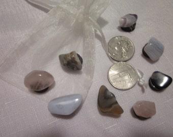 Polished Stone Mini Kitchen Magnets/Set of 8 with Mesh Giftbag