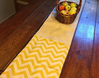 Burlap and Cotton Table Runner Reversible