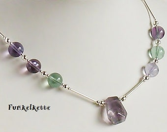 Necklace fluorite gemstone necklace purple green chain different shades fluorite bead faccettiert tube covered with silver lining toggle noble fine