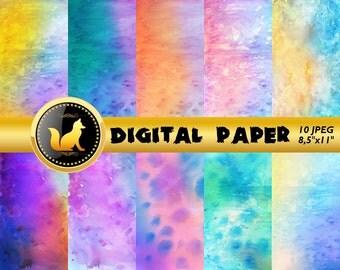 Rainbow Watercolor Digital Paper,Watercolor Scrapbook Paper,Watercolor Background,Watercolor Backdrop,digital paper,scrapbooking paper