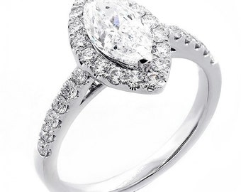 1.00 Ct Marquee cut diamond engagement ring set in 18K White Gold