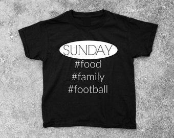 Sunday, Food, Family, Football Short Sleeve Boys Tee - FREE SHIPPING - Boys Tshirt, Toddler Tshirt, Childrens Apparel, Boys Clothing