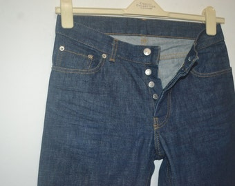 Vintage Helmut Lang Buttonfly Slim Denim Jeans Size 30 Made in Italy Fashion Designer Comme des Yohji Issey 90s