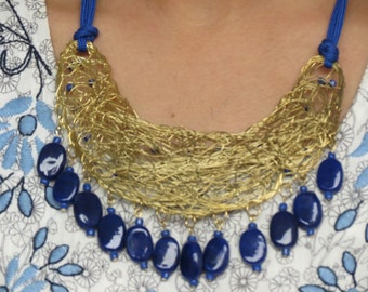 Blue Necklace, coiled Necklace, resin necklace, statement necklace, blue gold necklace,Bridesmaid necklace,beach jewelry,wedding necklace