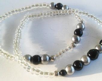 Black and Gray Beaded Bracelet Set, Handmade