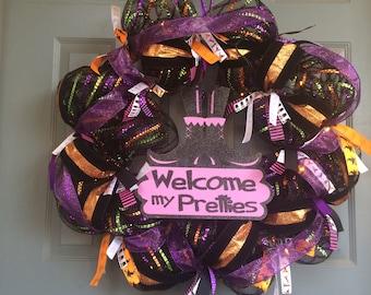 Welcome My Pretties Halloween Decomesh Wreath  ID number 473215770