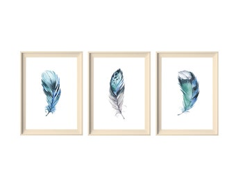 3 PACK Blue Feather Art, Tribal Feather Print, Feather Art, Boho Art, Bohemian Style, Blue Watercolour, Instant Download