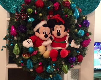 DISNEY inspired CHRISTMAS WREATH- Neon Blue