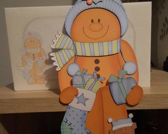 Gingerbread man, baby blue, christmas card, decoration, keepsake, merry christmas, on the shelf card and envelope
