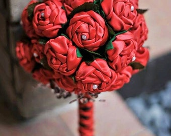 Fabric Bridal Bouquet, Sweet and Magical Red Satin Bouquet