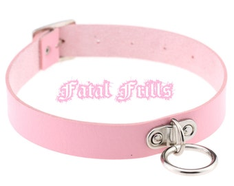 Pink Leather O Ring Choker O-Ring Collar Fetish Kawaii Pastel Goth Punk Bondage 90s Slave Adjustable Necklace Vegan