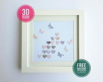 Love to Be. hearts and butterflies papercraft wall art display frame decoupage art box frame 3d effect paper hearts butterflies handmade