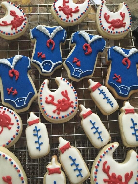 One Dozen Mini Nautical Baby Shower cookies