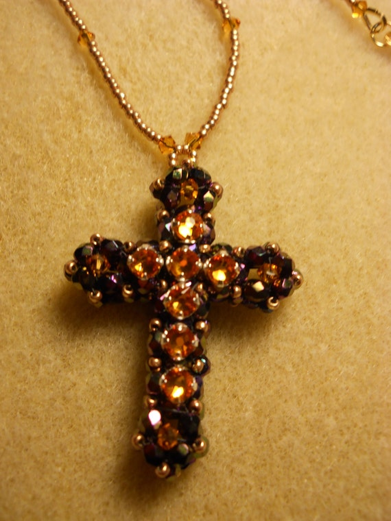 Crystal and Montee Cross w/ Beaded Chain and Gold Plated Clasp