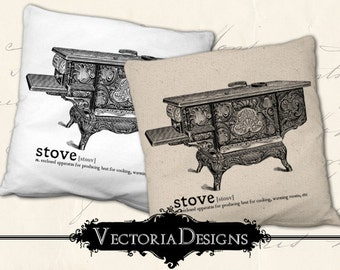 Stove digital transfer image iron on printable instant download digital collage sheet VD0638