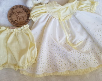 Lemon Dress with matching nappy cover