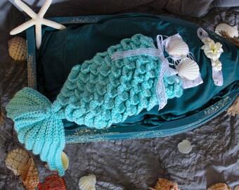 Newborn Baby Mermaid Photo Prop - Aqua