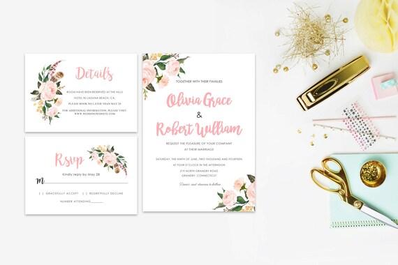 Floral wedding invite word_43,INSTANT DOWNLOAD, Editable Wedding template invitation. Microsoft Word template.Wedding Printable