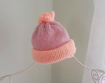 Knitted Newborn hat| Baby Beanie| Baby Beanie With Pom Pom | Baby Photo Prop| Hats | Baby Beanie| Knit Baby Hat| Knitted Hat