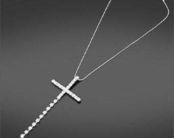 Long Necklace Cross and Chain Graduating Diamante Crystals Sparkly