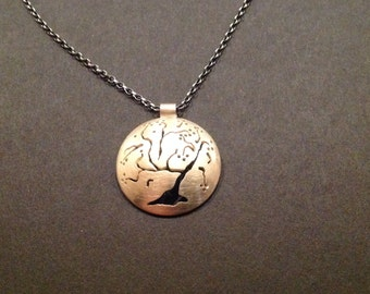 The Old Cherry Tree - recycled Sterling Silver pendant. ** Reversible **