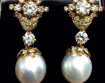 Women's 14k yellow gold pearl and diamond drop earrings