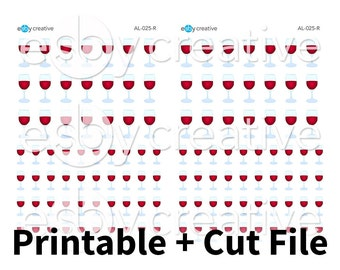 Red Wine  - Printable Planner Stickers + Cut File - AL-025-R - INSTANT DOWNLOAD