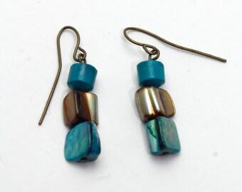 Turquoise & Brown Minimalist Earrings on Brass Earwires