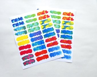 30 - Write-On Full Water Color Stickers Header Unique Texture Designs on White Paper Background Planner or Bullet Journal Stickers (WE)