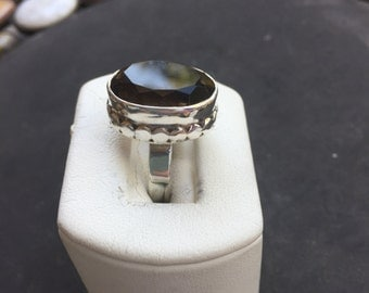 Silver and smoky quartz ring
