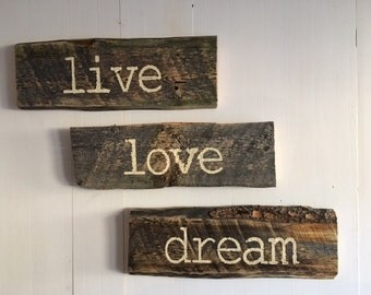 Barnwood Signs, Set of 3, Live Love Dream *On Sale Now* Reg 59.99
