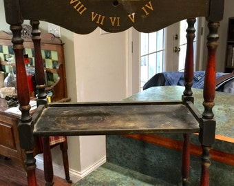 RARE Tagged as a Cushman Smoker Stand Or Wall Book Rack Combination with Gilbert Clock Model 1807 by H. T. Cushman MFG Co.