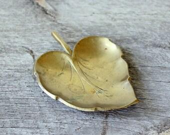 vintage brass leaf dish . brass catch all, brass trinket dish, solid brass change dish