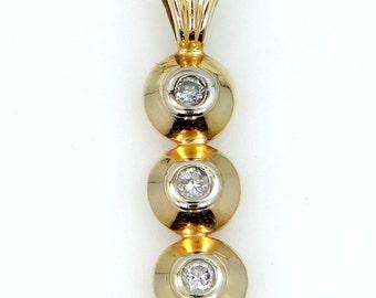 14k Solid Gold Heavy 3 Diamond Pendant