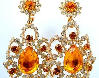 Pretty 1970's KJL Kenneth J. Lane Dangle Topaz Glass Filigree Earrings