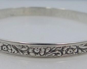 Art Deco Style Danecraft Sterling Silver Floral Bangle Bracelet