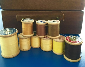 Vintage Thread lot of 9 wooden spools in yellows, browns and black, vintage thread, wooden spools for Halloween or fall.