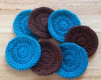 Turquoise and Brown  Face scrubbies,  ready to ship,  7 cotton facial rounds, reusable make up remover, face cloth, wash cloth, soft scrubby