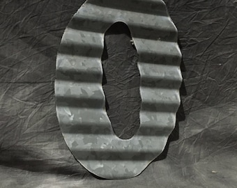 O - Antique Roofing Tin Letter O by JunkFX Free Shipping