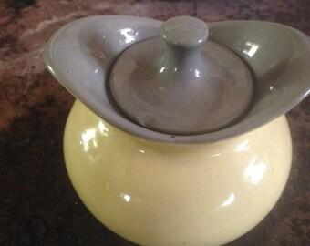 Harkerware Golden Dawn Covered Sugar Bowl Yellow & Gray Stoneware 1950s Classic
