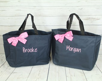 12 Personalized Bridesmaid Tote Bags- Wedding Party Gift- Bridal Party Gift- Initial Tote- Mother of the Bride Gift