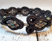 RESERVED - Iridescent Snakeskin Soutache Bracelet, Beaded Bracelet, Soutache Bracelet, Iridescent Bracelet, Soutache Jewelry